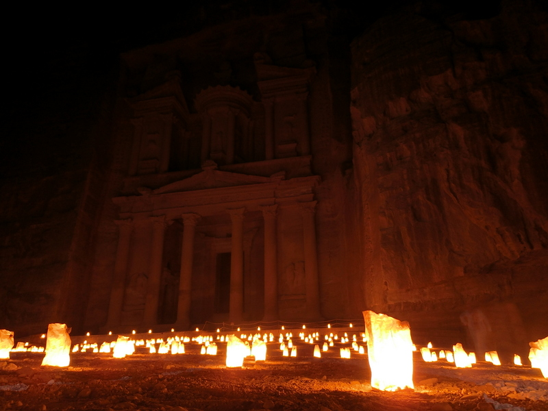 Jordanien Reise Petra by night