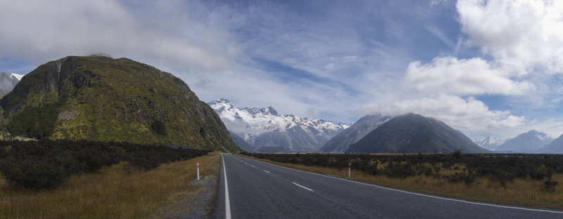 Road Mt Cook Südinsel Neuseeland Highlight