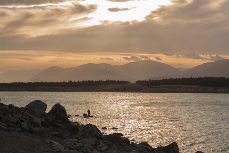 Sonnenuntergang Lake Pukaki Südinsel Neuseeland Highlight