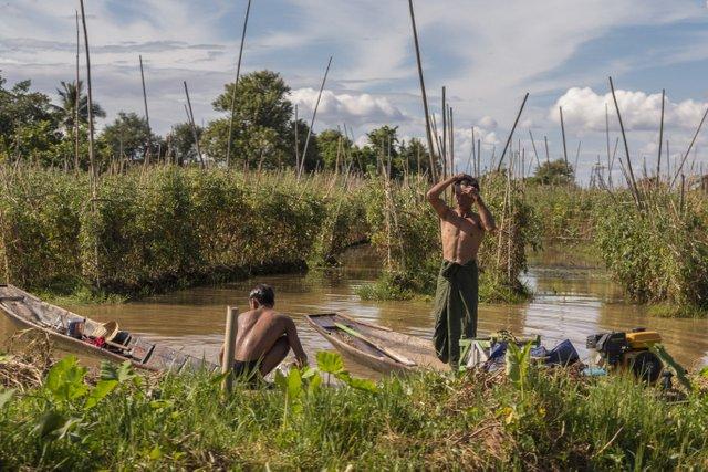 Myanmar Alltag auf dem Inle See