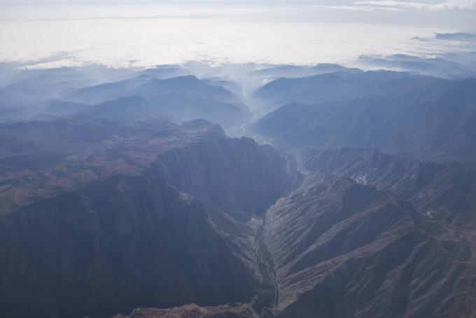 Flug nach Peru, Blick aus dem Flugzeugfenster