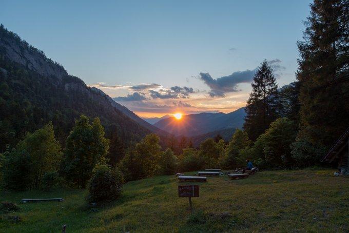 Wanderung im Kaisertal mit Kleinkind Sonnenuntergang Hans-Berger-Haus