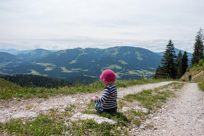 Wandern in Tirol mit Kleinkind Aussicht Hartkaiser