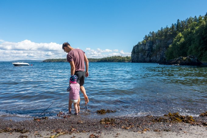 Norwegen mit Kleinkind Wanderung Løvøya