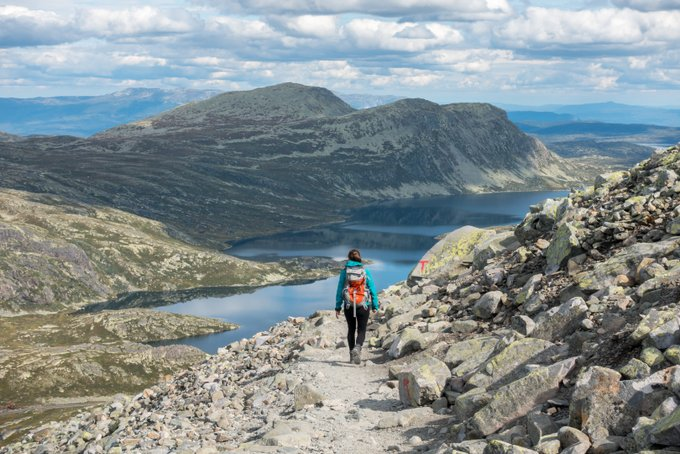 Wanderung Gaustatoppen Norwegen Wegmarkierung
