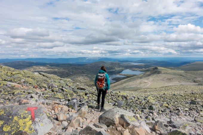 Wanderung Gaustatoppen Norwegen der Abstieg