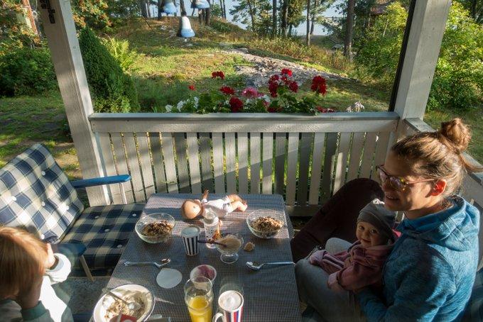 Schweden im Sommer Frühstück