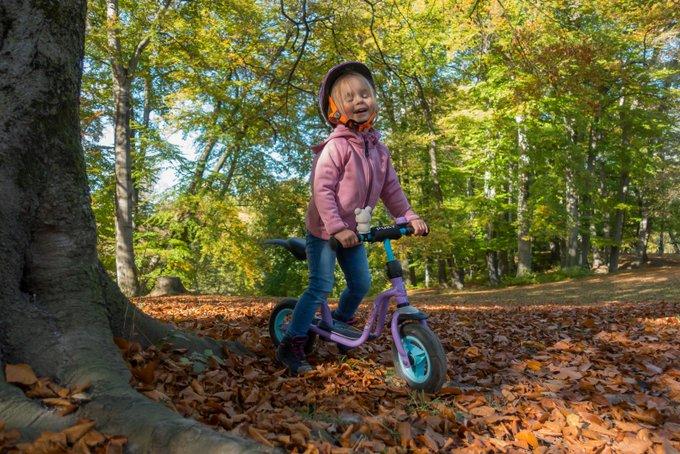 Laufradl fahren im Herbst