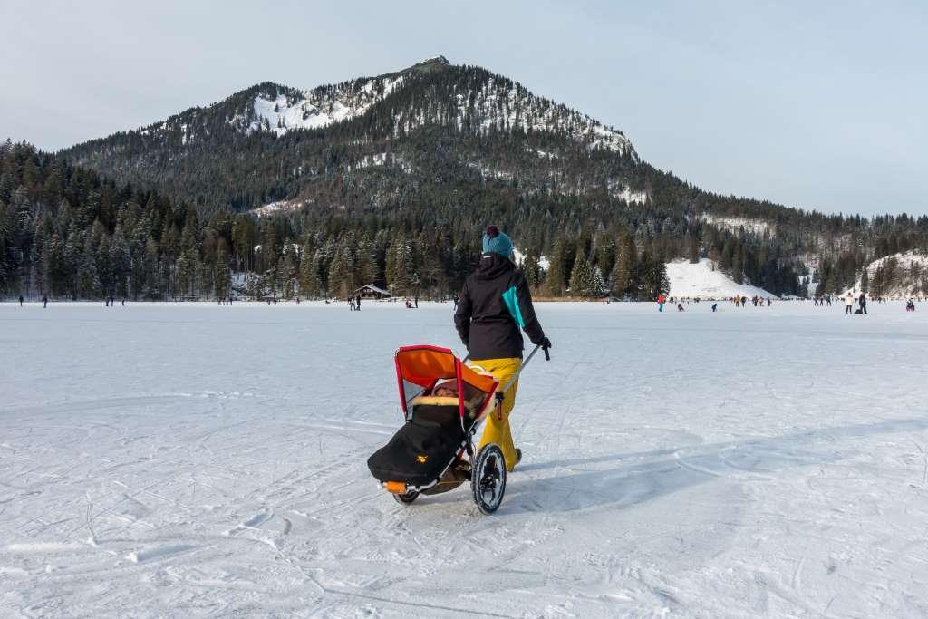 Wandern Berge Schnee Winter Kinder Kinderwagen