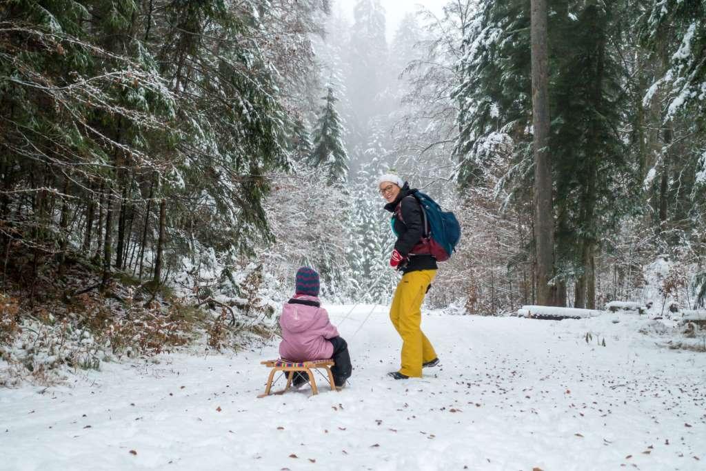 Winterwandern mit Schlitten